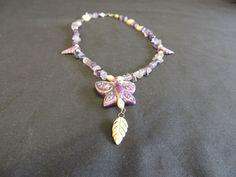 VTG  Purple Quartz Amethyst Chip Bead Ceramic Butterfly Leaf Pendant Necklace