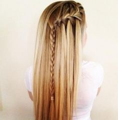 Long hair with waterfall braid. One day my hair will thicker and maybe I could pull it off! Pretty Hairstyles, Straight Hairstyles, Braided Hairstyles, Style Hairstyle, Perfect Hairstyle, Blonde Hairstyles, Celebrity Hairstyles, Hairstyles Haircuts, Long Blond