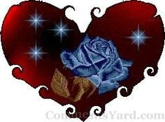 Blue Rose in Red Heart
