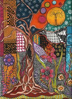 Tangled Trees Zentangle Inspired Art Art Print