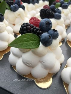Mini Pavlovy Meringue Desserts, Meringue Cake, Gourmet Recipes, Sweet Recipes, Gourmet Food Plating, Mini Pavlova, Cake Decorating Designs, Cookie Packaging, Czech Recipes