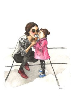 watercolor daughter mother drawings ink ice cream mommy daughters child illustration clipart painting mothers paintings giclee quotes families
