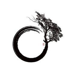 "Tree- Enso Tree – Enso Tree- - Tree- Enso Tree – Enso Tree- - Green And Black Paint Brush Stroke Guys Amazing Tree Of Life Forearm Tattoos ""Yin Yang Bonsai Tree Japanese Buddhist Zen"" Unisex T-Shirt by Plistshirts Natur Tattoos, Kunst Tattoos, Bild Tattoos, Tattoo Drawings, Body Art Tattoos, Fox Tattoos, Circle Tattoos, Sleeve Tattoos, Forearm Tattoos"