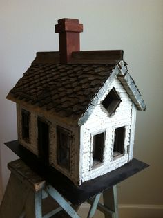 19Th C Folky Dollhouse in original Paint and glass windows...