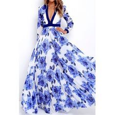 USD10.99Euramerican V Neck Long Sleeves Floral Print Polyester Floor length Dress