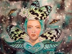 Heart chakra fairy watercolor by yoga fairy affirmation : I LOVE