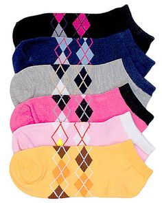 6 Pair Girls Socks Size 6-8 Anklet Argyle Diamond Plaid Assorted Color Novelty  #Mamia #AnkleSocks