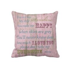 Rustic Pink Wood You Are My Sunshine pillow