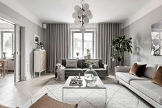 〚 Refined Scandinavia: modern apartment in Stockholm 〛 ◾ Photos ◾Ideas◾ Design Apartment Interior Design, Interior Design Living Room, Living Room Designs, Living Spaces, Family Room, Home And Family, Appartement Design, Sweet Home, Beautiful Interior Design