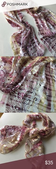 Gold + Cream + Plum paisley Italian scarf  Beautiful Italian scarf in cream + gold + plum with paisley print. New without tags. Received as a gift but never worn. Make an offer or bundle up! Ask me to create a custom bundle of 3+ for the best pricing  Accessories Scarves & Wraps