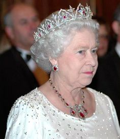 HM The Queen wearing the Oriental Circlet with the Baring ruby necklace and Queen Mary's ruby earrings.
