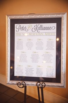 """framed seating chart - love the """"Find your Seat and Bon a Petite!"""""""