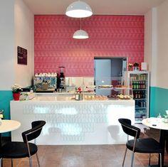 Coffee shop design: best cafeteria design ideas on pinte Cake Shop Interior, Bakery Interior, Coffee Shop Interior Design, Coffee Shop Design, Cake Shop Design, Design Café, Bakery Design, Cafe Design, Design Ideas