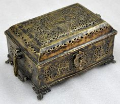 1850s Indian Antique Hand Crafted Floral Engraving Brass Betel Nuts Box | eBay