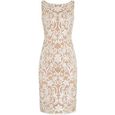 Adrianna Papell Evening short sleeveless floral beaded dress ($91) ❤ liked on Polyvore featuring dresses, clearance, ivory, embroidery dress, sequin dresses, short beaded dress, short dresses and short-sleeve shift dresses