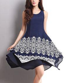 Look what I found on #zulily! Navy & White Lace Print Layered Sleeveless Handkerchief Dress #zulilyfinds