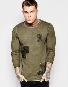 ASOS Longline Long Sleeve T-Shirt With Applique And Distressed Pigment Wash  at asos.com 1ae0bb61b22