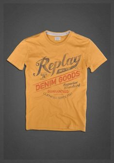 T-shirt manica corta in jersey con stampa 'Replay Denim Goods' corn yellow. | T-shirts | Uomo | FW12 | Replay | REPLAY Online Shop