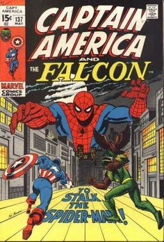 """Is this a Marvel team-up or gang-up? Cap and Falc go after Spidey! (The """"Bullpen Bulletins"""" said that Spidey was """"on drugs"""" in the same month's """"Amazing""""; is that why you're narking him?)"""