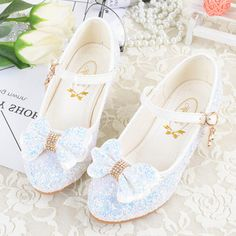 41fe8aece7ffba Girl s Closed Toe Leatherette Low Heel Flower Girl Shoes With Bowknot  Buckle Sparkling Glitter Flower Girl