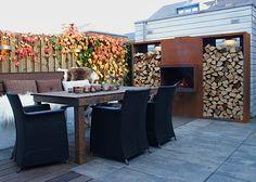 open haard set in warme tuin Eigen Huis en Tuin | Corten fire place by abk-outdoor.com