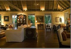 The Great Room at the Cotton House Hotel on Mustique, an Oliver Messel design