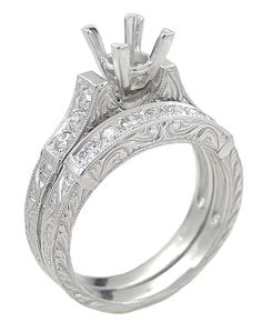 Art Deco Scrolls 1.25 Carat Princess Cut Diamond Engagement Ring Setting and Wedding Ring in 18 Karat White Gold $2,815.00 http://www.antiquejewelrymall.com/r952.html
