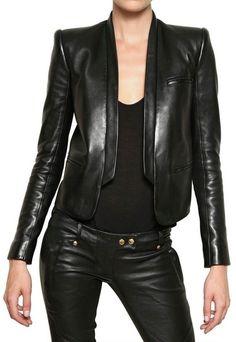 Soft Nappa Tuxedo Leather Jacket - Lyst
