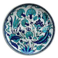 Plato de cerámica de Iznik con cobalto y turquesa por nicea en Etsy
