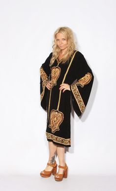 Vintage Black Embroidered Caftan by redpoppyvintageshop on Etsy, $42.00