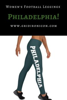 Philadelphia football fans: Leggings with pride: stylish, durable, and a hot fashion staple. These polyester/spandex leggings are made of a comfortable microfiber yarn, will never lose their stretch. Features a classic green & white Philly designs! Football Coach Gifts, Gifts For Football Fans, Women's Football, Football Coaches, Leggings Outfit Fall, Cute Leggings, Philadelphia Football, New England Football, Workout Leggings
