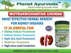 Mutrakrichantak Churna is a safe and effective combination of kidney supporting herbs. It is useful in Kidney failure due to any reason, Water retention, Nephrotic syndrome treatment, kidney stones, Dialysis, urinary tract infections, reduce high uric acid, urea and creatinine levels. It is beneficial for overall kidney health. For more details, please visit- http://www.planetayurveda.com/mutrakrichantak.htm