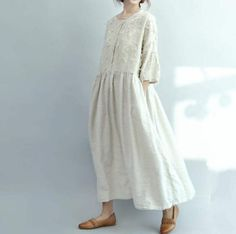 Robe Maxi longue ample coupe près du corps bleu / beige robe longue / coton et lin longue robe de poupée