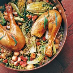 Slow-roast chicken with tarragon and peas from The Scandinavian Kitchen by Camilla Plum