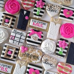 Black, White and Pink Kate Spade Inspired Engagement Decorated Sugar Cookies