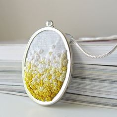 Yellow Gradient Necklace silk ribbon embroidery by by bstudio