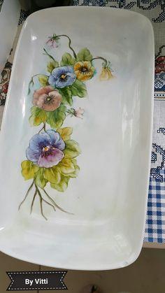Bandeja de porcelana pintada à mão por Vitti