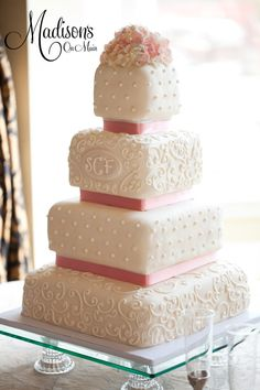 Square Wedding Cake-  minus the flowers on top