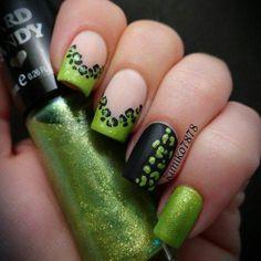 Green & Black nails