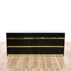 Lacquered Black U0026 Gold Modern Long Dresser | Loveseat Vintage Furniture San  Diego