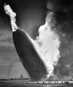 """Photo: crash of the dirigible """"Hindenburg"""" on 6 May 1937 at Lakehurst Naval Air Station in New Jersey. Credit: Murray Becker/Associated Press; Wikimedia Commons. Read more on the GenealogyBank blog: """"Hindenburg Disaster Ends the Airship Era."""" https://blog.genealogybank.com/hindenburg-disaster-ends-the-airship-era.html"""