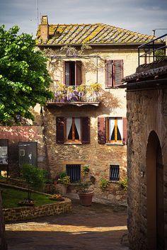 Balcony, Monticchiello, Tuscany, Italy