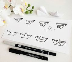 How to doodle a paper airplane and boat 🖊️📒 . (how many of these did you... - #airplane #boat #doodle #paper
