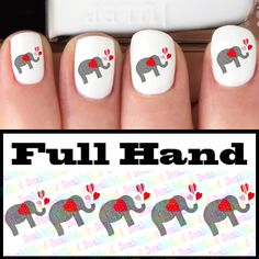 heart elephants valentine's day nail decals | Decals by Land