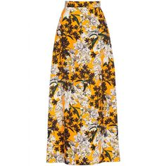 Msgm Floral Print Maxi Skirt ($239) ❤ liked on Polyvore featuring skirts, long skirts, ankle length skirts, print maxi skirt, patterned skirts, floral wrap skirt and wrap maxi skirt