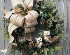 Christmas Wreath Winter Wreath Burlap Owl Wreath Snowy Greenery Snow Falling in the Forest Burlap Winter Wonderland No Red by HornsHandmade on Etsy Owl Wreaths, Wreath Crafts, Diy Wreath, Holiday Wreaths, Holiday Crafts, Christmas Decorations, Wreath Burlap, Winter Wreaths, Yarn Wreaths