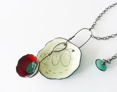 Suzanne Anderson - vitreous enamel, copper, graphite, sterling silver, base metal chain