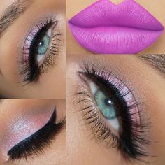 Not the lips! I like lips to be lighter if you go with a bolder eye look, and vice a versa Blue Eyeshadow, Eyeshadow Looks, Pink Makeup, Beauty Makeup, Hair Makeup, Beauty Tips For Skin, Beauty Hacks, Eye Illusions, Eye Base
