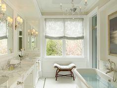 Burns and Beyerl Architects - bathrooms - bathroom ottoman, bathroom stool, tray ceiling, bathroom tray ceiling, glass chandelier, bathroom ...