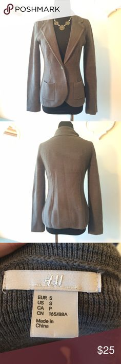 H&M Grey ribbed blazer H&M Grey ribbed blazer, 2 pockets, hardly worn, Size S H&M Jackets & Coats Blazers